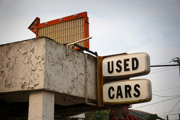 Aged and worn vintage udes cars sign Wall mural