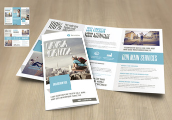 Tri-Fold Layout in Beige with Cyan Elements