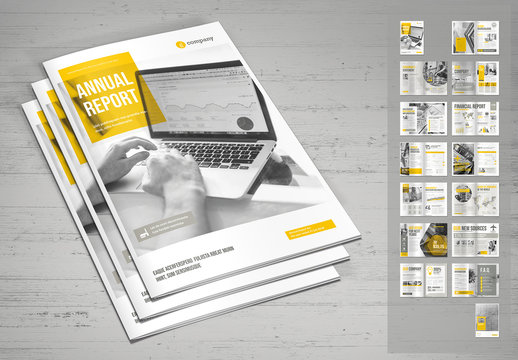 Annual Report Layout in Gray with Yellow Accents