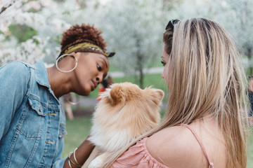 Two girls in their twenties at the park with their dogs