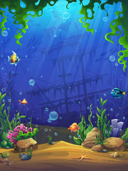 Foto auf Leinwand Dunkelblau Vector illustration the underwater cartoon bright background