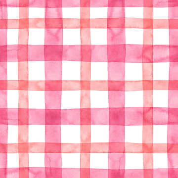 Pink watercolor plaid seamless pattern. Hand drawn pastel pink and coral strips and lines on white background. Tartan kilt endless print for kids clothes, textile, wrapping paper, packaging design.