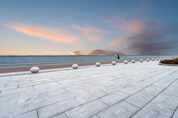 Empty square tiles and beautiful sky scenery