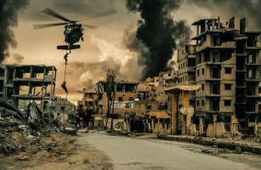 Helicopter and forces in destroyed city Wall mural