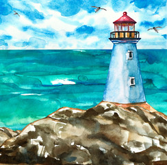 Summer marine artwork with lighthouse on rocks and sea view. Watercolor painting.