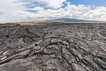 USA, Hawaii, Big Island, Kona, Mauna Loa volcano and lava field