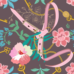 Botanical pattern with fashion elements.