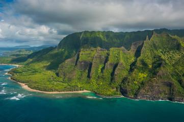 Hawaii, Kauai, Aerial of the Na Pali Coast, Na Pali Coast State Wilderness Park