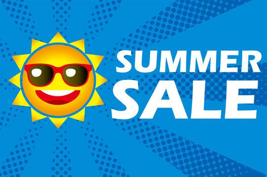Illustration of anthropomorphic sun smile, template design for summer sale for advertising, vector data