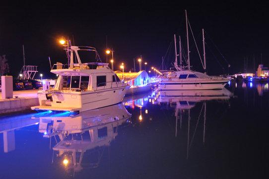 The beautiful Night Limassol Marina in Cyprus