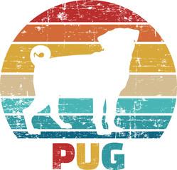 Pug vintage retro