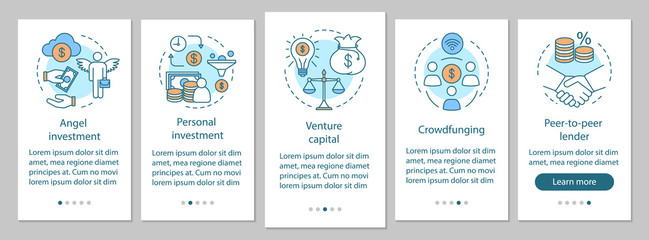 Startup investment onboarding mobile app page screen with linear concepts