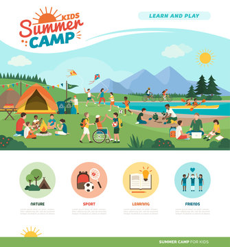 Happy kids enjoying summer camp together in the mountains
