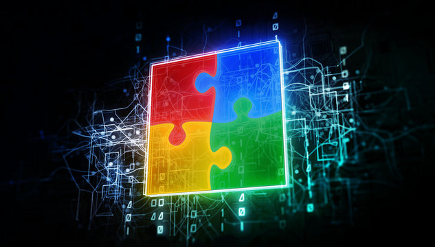 Puzzle teamwork in virtual cyberspace network with binary code