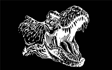 Graphical portrait of tyrannosaurus isolated on black background,vector engraved illustration