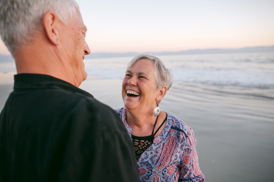 Mature couple together on beach