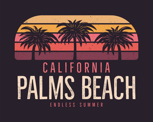 California Palms Beach Graphic for T-Shirt, prints. Vintage hand drawn 90s style emblem. Retro summer travel scene, unusual badge. Surfing Adventure Label. Stock vector.