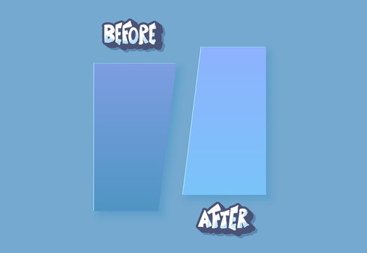 Before and after template. Vector screen elements.