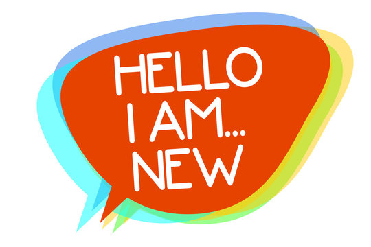 Conceptual hand writing showing Hello I Am... New. Business photo showcasing Introduce yourself Meeting Greeting Work Fresh worker School Multiline text layer design pattern red background think