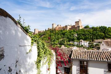 View of the Alhambra from Mirador de los Carvajales - Granada, Spain