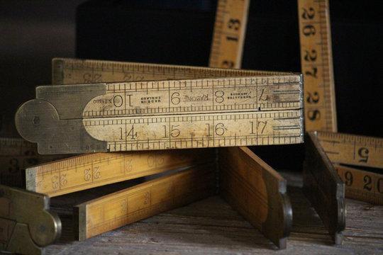 vintage wood rules or measures