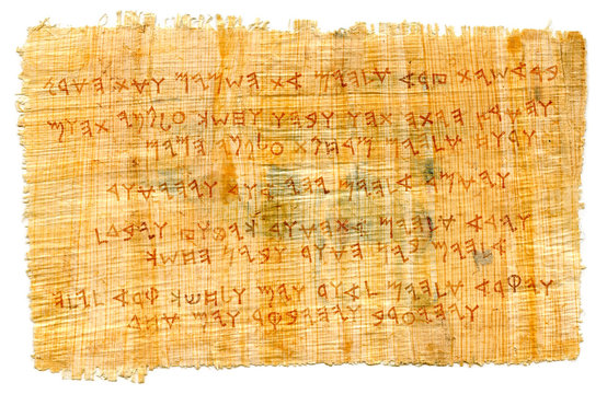 The Phœnician manuscript. The most first Alphabet in The World, Proto-writing. The Middle East, c.1500–1200 B.C. Ancient papyrus, sheet of parchment, Ragged scroll, handmade paper, textured canvas.