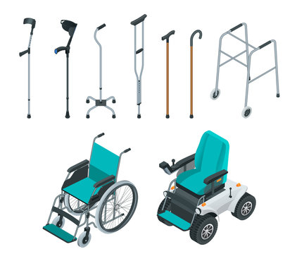 Isometric set of mobility aids including a wheelchair and electric wheelchair, walker, crutches, quad cane, and forearm crutches. Health care concept. Medical support equipment.