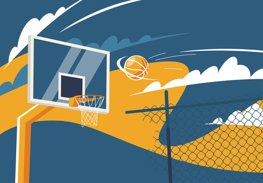 Vector illustration of a basketball ring on the street with a basketball flying into it