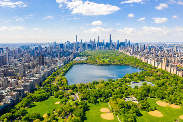 Wall Mural - Aerial view of the Central park in New York with golf fields and tall skyscrapers surrounding the park.