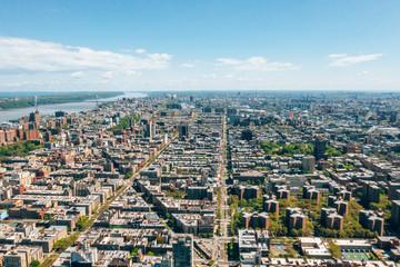 Aerial detailed view of the Manhattan uptown, New York. Upper Manhattan and Harlem district.