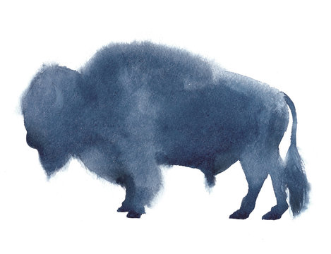 Watercolor realistic bison silhouette on white background