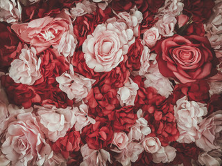 beautiful artificial flowers background, vintage style