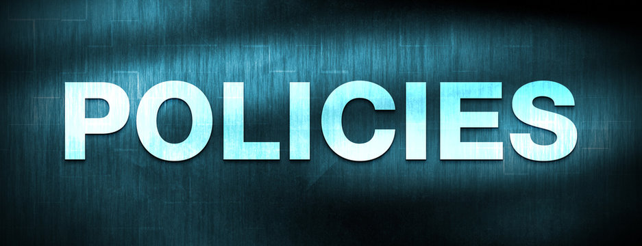 Policies abstract blue banner background