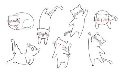 Draw set outline of cat different pose.