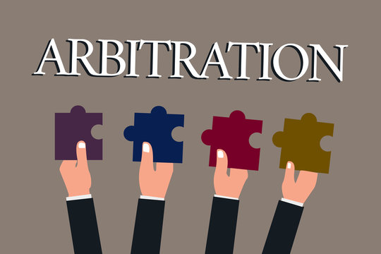 Conceptual hand writing showing Arbitration. Business photo text Use of an arbitrator to settle a dispute Mediation Negotiation.