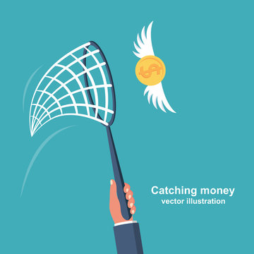 Chasing money concept. Businessman trying to catch flying coin. Business metaphor. Vector illustration flat design. Isolated on white background.