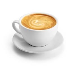 Papiers peints Cafe Cup of coffee latte isolated on white backgroud with clipping path