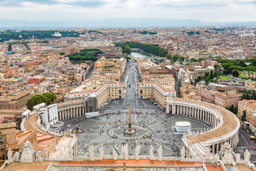 Vatican city in Rome, Italy aerial view from above of cityscape. Saint Peter's Square in Vatican