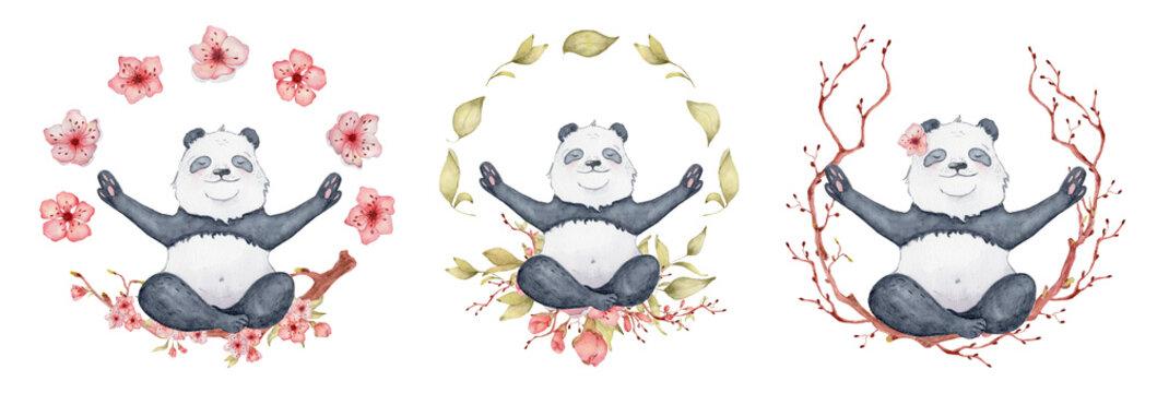 Panda bear sitting in lotus position with sakura wreath, Cute yoga animal illustration