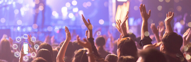 Concert On Stage Show, Entertainment Music Light and Sound, Concert Festival Music, Event Management Performance. Abstract Blur, Bokeh, for Background.