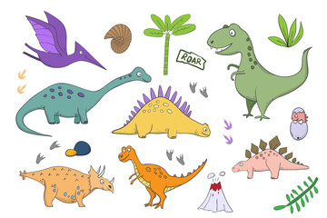 big Set with dinosaurs - illustrations of dinosaurs in the style of cartoon