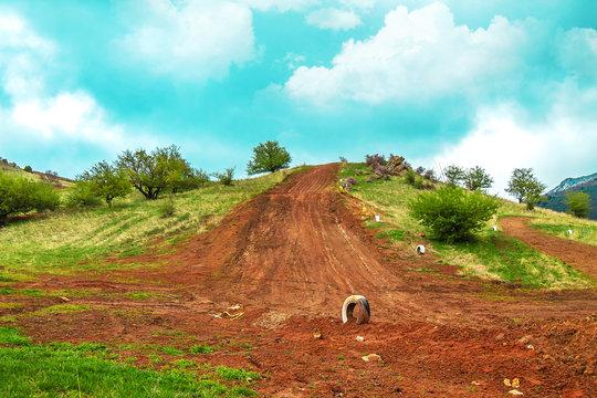 Motocross track in spring