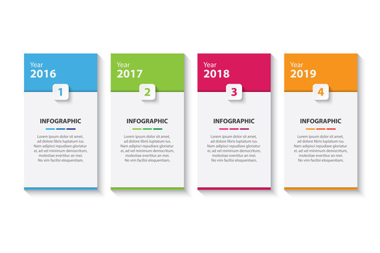 colorful timeline infographic with 4 options design template, Infographics management, finance, analytics, presentation. Vector illustration