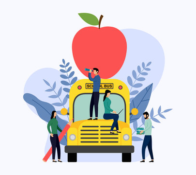 Big red apple on the school bus, education vector illustration