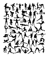 Happy Fitness and Gym Sport Silhouettes, art vector design