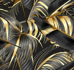 Vector seamless pattern with gold and black tropical leaves on dark background. Rainforest.