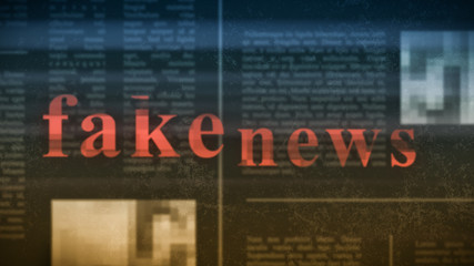 "blurred newspaper on background with red text: ""fake news"" on foreground, glitch effect, concept of disinformation (3d render)"