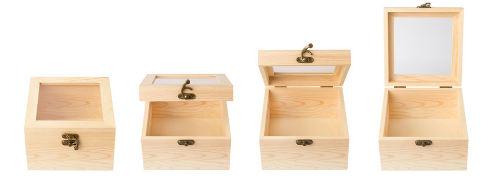 Set of wooden box or casket with a transparent glass window and a copper lock on the lid isolated on white background. Convenient packaging for storing small items. Different front views.