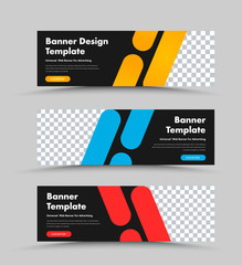 Wall Mural - Vector black horizontal web banners design with place for photo and color rectangles with rounded corners.