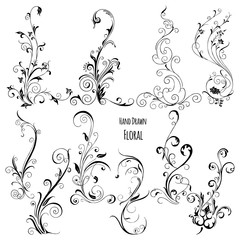 Hand Drawn Floral Vector. Perfect for invitations, greeting cards, quotes, blogs, Wedding Frames, posters
